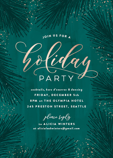 party invitations - Evergreen Foliage by Hooray Creative