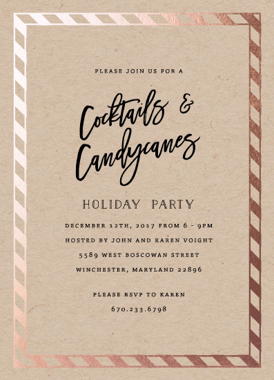 party invitations - Cocktails and Candycanes by Bethany Anderson