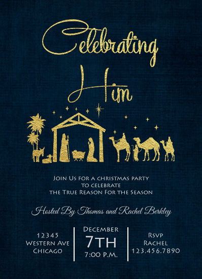 party invitations - Celebrate the Magic of Christmas by Christy Platt
