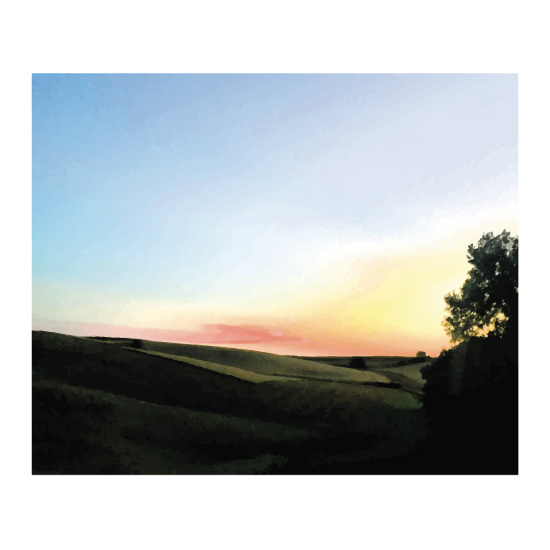 art prints - country hills at sunset by Inkblot Paper