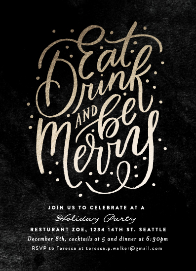 party invitations - Eat, Drink and Be Merry Script by Alethea and Ruth