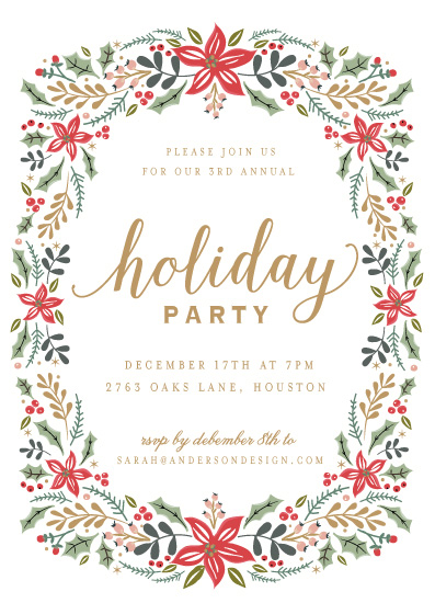 party invitations - Holiday Floral Sprinkle by Susan Moyal