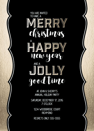 party invitations - Merry Happy Jolly by Jenna Pennell