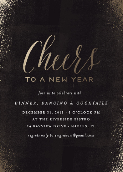 party invitations - Cheers to New Years by Kelly Nasuta