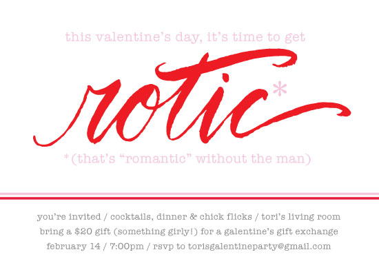 party invitations - Ro-tic Galentine's Day by Kari Joy