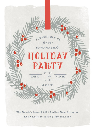 party invitations - festive holiday wreath by Karidy Walker