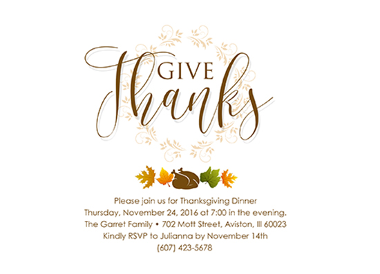 party invitations - Simply Give Thanks H by Beatriz Mojarro