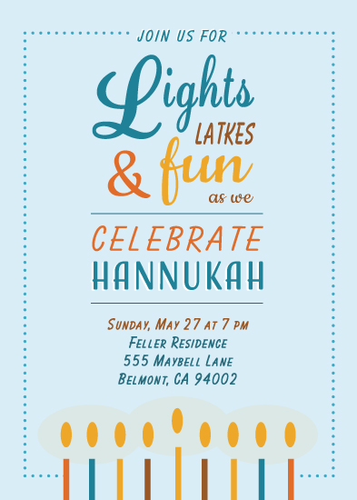 party invitations - Lights and Latkes by Tiki Keller
