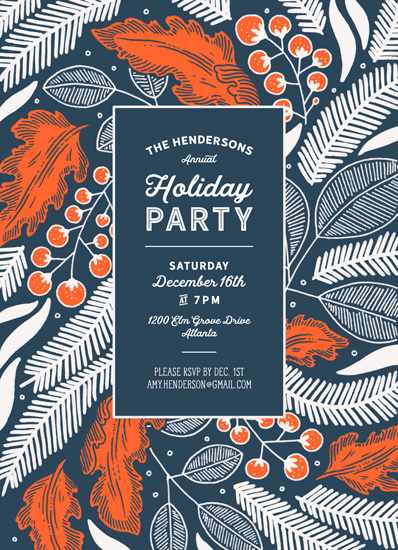 party invitations - Vintage Berry Holiday by Paper Raven Co.