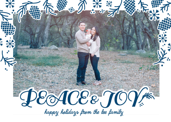 holiday photo cards - Peace, Joy and Pine cones by Tiki Keller