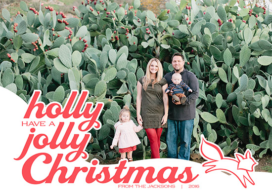 holiday photo cards - Holly Jolly Christmas Fox by Viper Paper Co.