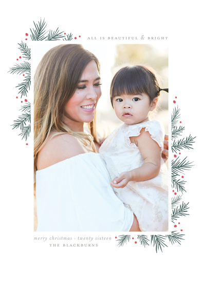 holiday photo cards - All is Beautiful + Bright by Wildfield Paper Co.