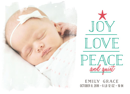 holiday photo cards - Love. Joy. Peace & Quiet by Kelly Clabaugh