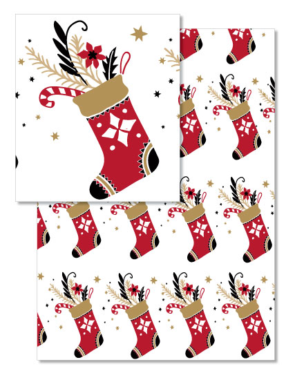 design - Vintage Christmas Stocking by Lisa Rodgers