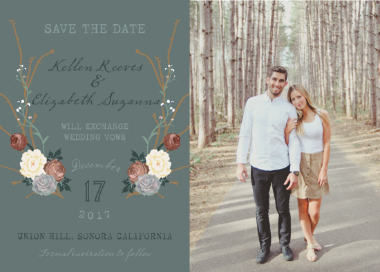 save the date cards - succulent in the woods by Natalia