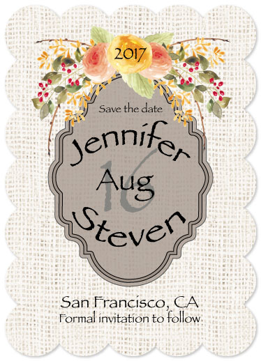 save the date cards - Burlap & Flowers by Lisa Rodgers