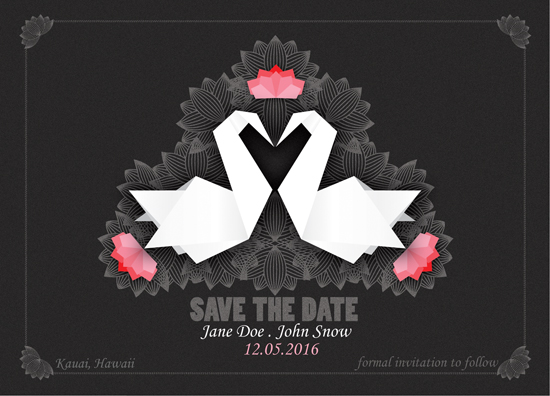 save the date cards - Swans in Love by Dipti Irla