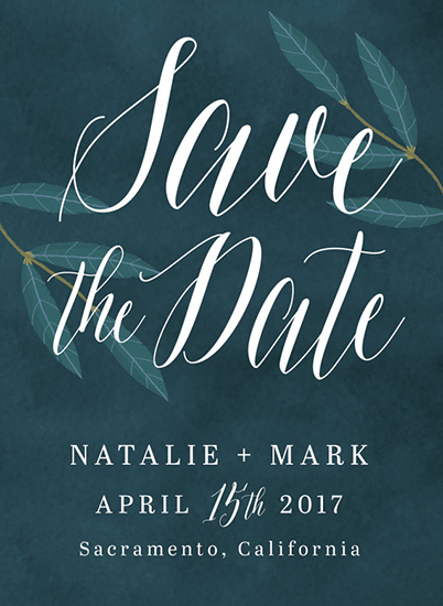save the date cards - Navy Laurels by Angela Coleman