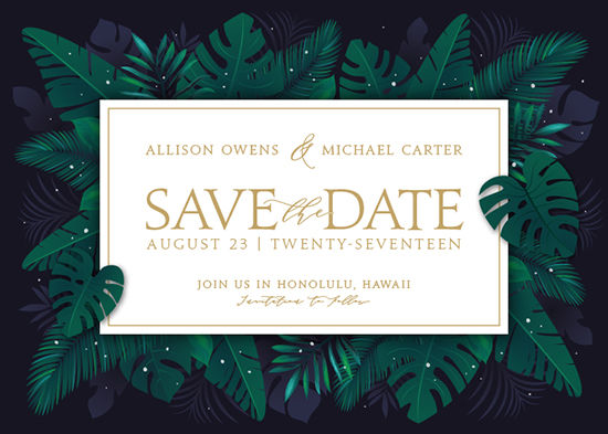 save the date cards - Paradise by GeekInk Design
