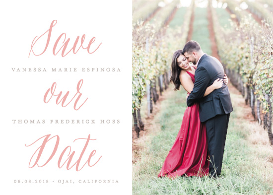 save the date cards - Blushing Script by jomolo