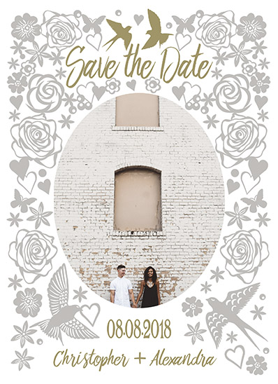 save the date cards - roses and sparrows by michael cheung