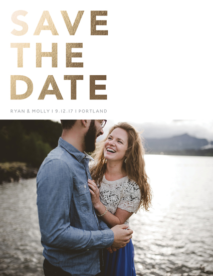 save the date cards - Bold & Gold by Meg Chalmers