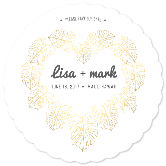 save the date cards - Gilded Monstera Heart by Emily Keller-Logan