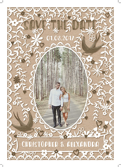 save the date cards - love birds & foliage - save the date by michael cheung