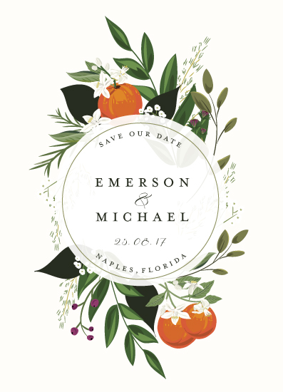 save the date cards - Orange Blossoms by Susan Moyal