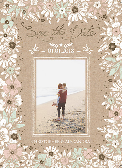 save the date cards - floral border with gold foiling - save the date by michael cheung