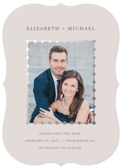 save the date cards - Silver Beads by PrintHappy Designs