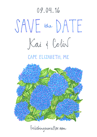 save the date cards - Hydrangeas in bloom by Mina Aiken