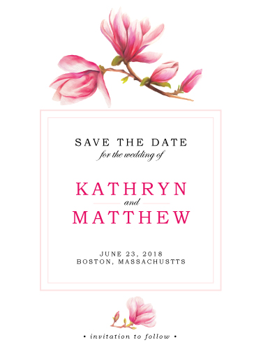 save the date cards - Japanese Magnolia in Bloom by Paula Pecevich