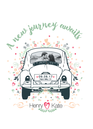 save the date cards - Life's a journey by Retroactive Studios