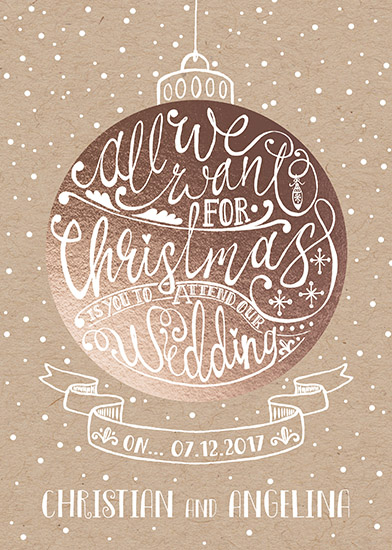 save the date cards - merry to be married romantic rose gold bauble by michael cheung