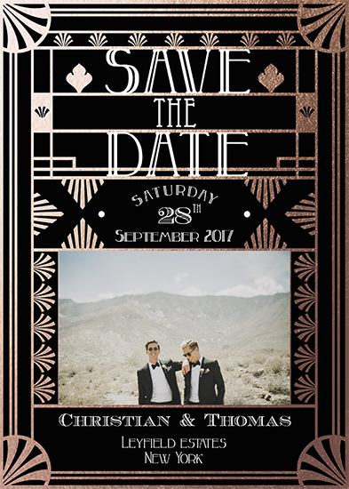 save the date cards - art deco geo by michael cheung