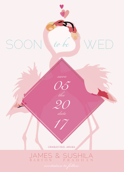 save the date cards - French Kiss Flamingoes by Zhay Smith