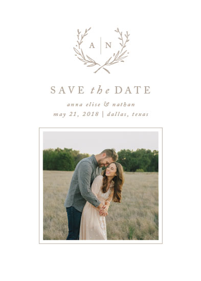 save the date cards - Lined Laurel by Amy Kross