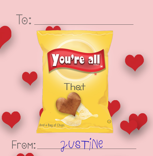 valentine's day - bag of chips by Justine Duncan