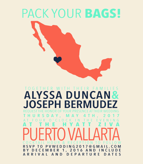 wedding invitations - mexico wedding by Justine Duncan
