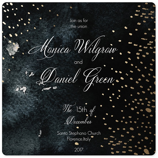 wedding invitations - Gold snowstorm by holaholga
