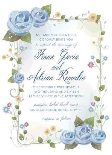 wedding invitations - Blue Rose by Adrian Remedio