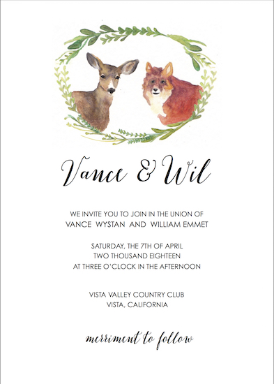 wedding invitations - Doe + Fox by Addie Kay