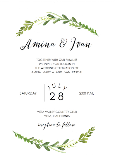 wedding invitations - Twigs and Leaves by Addie Kay