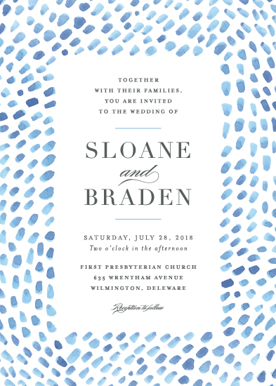 wedding invitations - watercolor dashes by Jennifer Wick