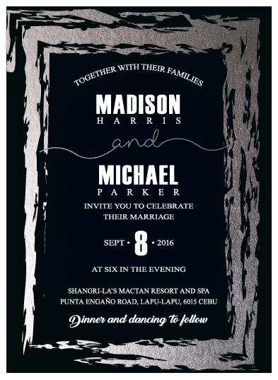 wedding invitations - WEDDING  silver foil by Onie