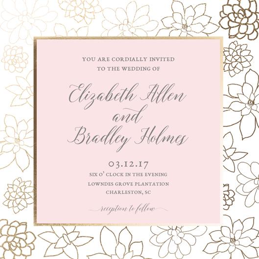 wedding invitations - Gilded Succulents by Nella Designs