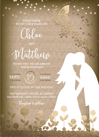 wedding invitations - WEDDING INVITATION-with butterfly and stars by Onie