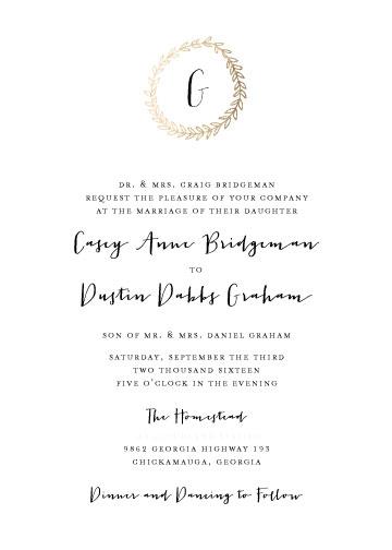 wedding invitations - Golden Laurel Wreath by Ashley McCallister