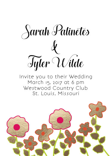 wedding invitations - foil pressed flowers by Concept Designz